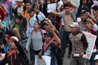 Demonstrators march in protest for the disappearance of 43 students in the state of Guerrero, in Mexico City, Wednesday, Nov. 5, 2014.
